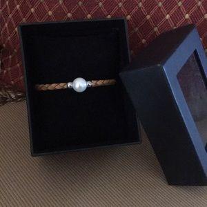 Jewelry - Leather & Genuine Pearl Bracelet